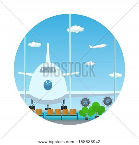Icon Airport ,View on Airplane through the Window from a Waiting Room ,Travel and Tourism Concept, Flat Design, Vector Illustration