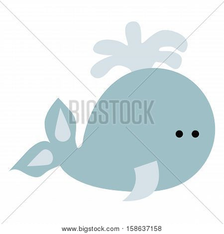 colored icon cute baby whale in cartoon style on white background. Website template or decal patch label for clothing. Vector illustration