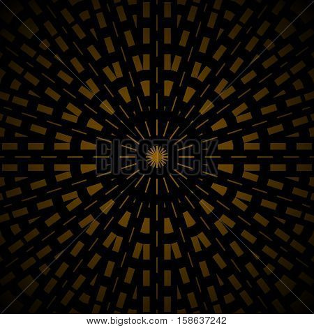 Abstract geometric seamless background. Regular concentric ornament dark brown and black with golden rays, centered and blurred.