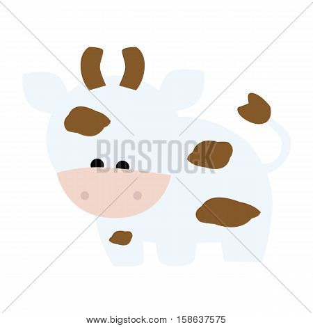 colored icon of a cute baby calf cow in cartoon style on white background. Website template or decal patch label for clothing. Vector illustration