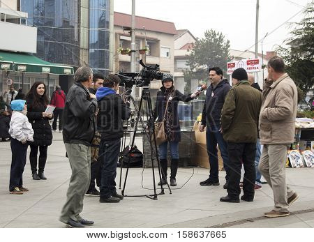 Kavadarci Macedonia - November 27 2016: Reporters is interviewing representatives of Macedonian party