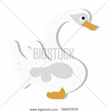colored icon cute baby white Swan in cartoon style on white background. Website template or decal patch label for clothing. Vector illustration