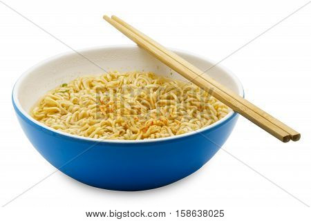 Cooked instant rice noodles in a blue bowl on white background