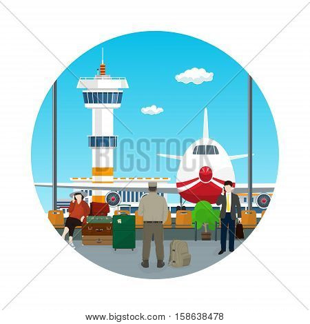 Icon Airport ,View on Airplane and Control Tower through the Window from a Waiting Room with People ,Travel Concept, Flat Design ,Vector Illustration