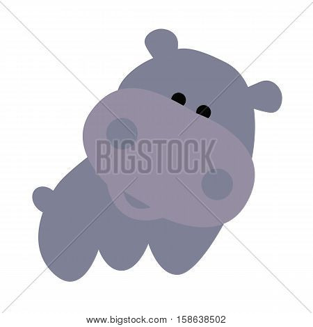 icon color cute baby Hippo cartoon style on a white background. Website template or decal patch label for clothing. Vector illustration