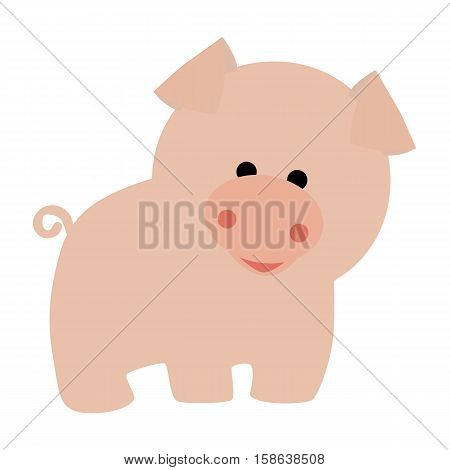 colored icon cute baby pink pig in cartoon style on white background. Website template or decal patch label for clothing. Vector illustration