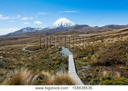 Path to Mount Ruapehu and Tama Lakes Tongariro National Park New Zealand