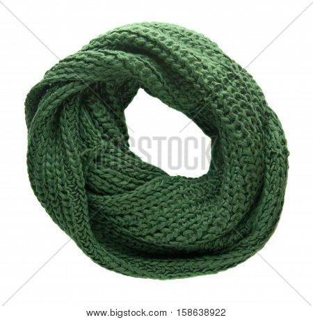 Scarf Isolated On White Background.scarf  Top View .green Scarf
