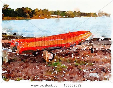 Digital watercolor painting off an colorful old orange boat tender on a trolley by a public slipway on a cloudy day.