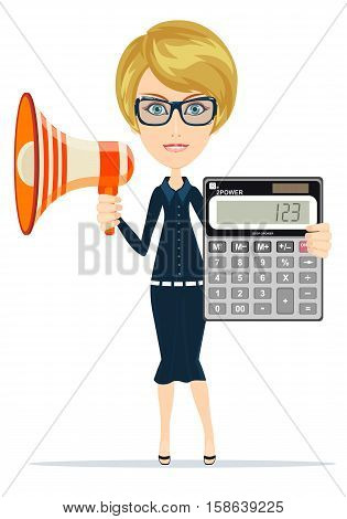 woman with a megaphone and a calculator. Stock vector illustration