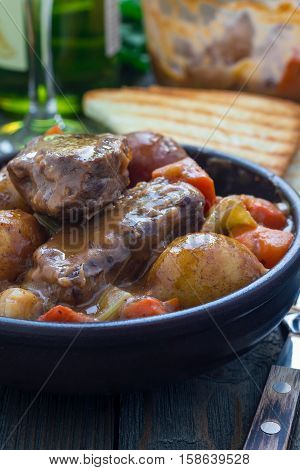 Hearty beef stew with carrot celery shallot and potato vertical