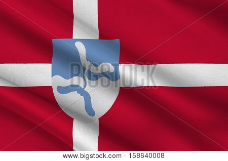 Flag of Vejen in Southern Denmark Region. 3d illustration