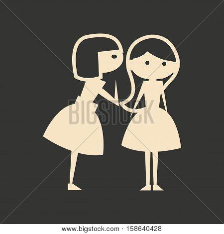 Flat in black and white mobile application girlfriend