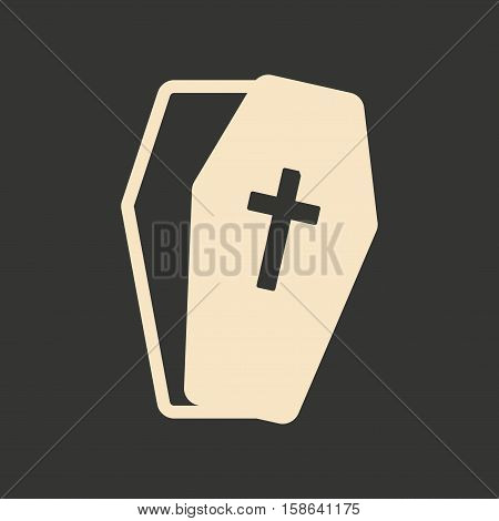 Flat in black and white mobile application coffin