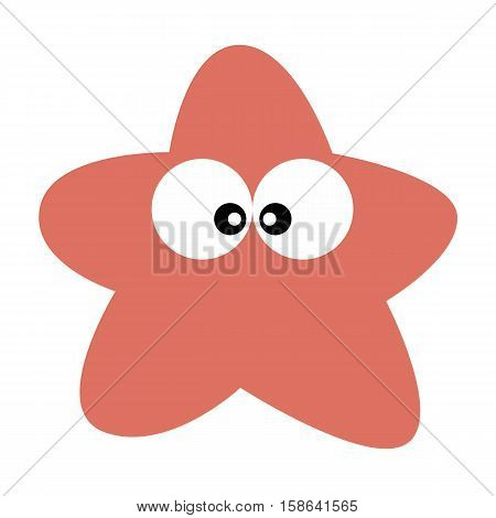 colored icon cute baby starfish cartoon style on a white background. Website template or decal patch label for clothing. Vector illustration