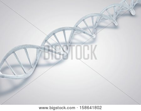 DNA made from ice. Frozen DNA double helix molecules. 3D illustration