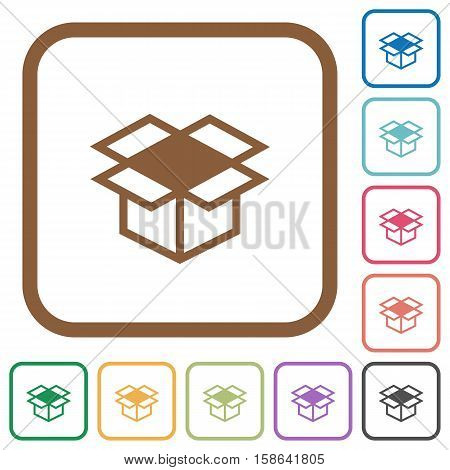 Open box simple icons in color rounded square frames on white background