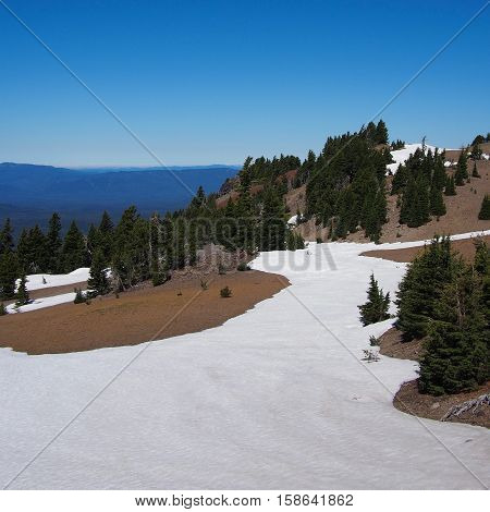 In the middle of summer snow still remains at the high altitude of Crater Lake National Park.