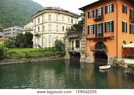 Italy. Como. Ancient houses on the picturesque shores of Lake Como.