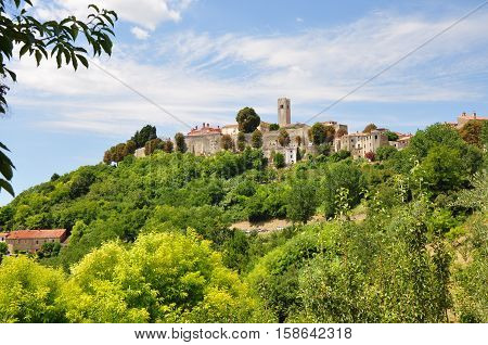 Motovun town on a bright green hill Istria Croatia