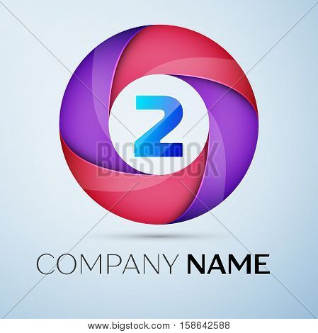 Number two vector logo symbol in the colorful circle. Vector template for your design