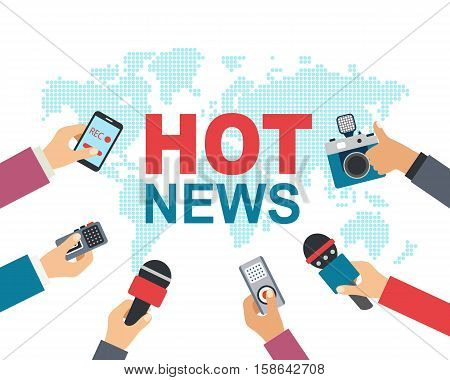 Hot news, mass media, journalism concept. Vector illustration of many hands with microphones, recorders