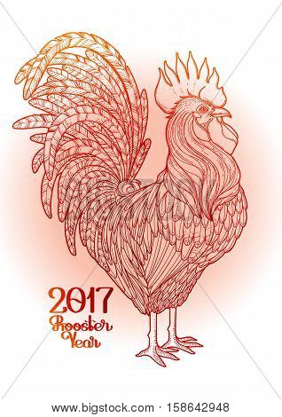 Graphic rooster drawn in line art style. Symbol of 2017 year isolated on the gradiant background in red colors.