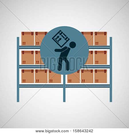warehouse box woker design icon vector illustration eps 10