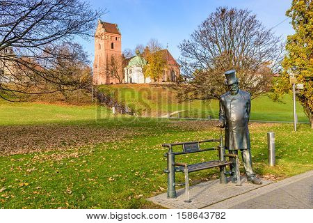 WARSAW, POLAND - NOVEMBER 4, 2016: the monument to sir William Heerlein Lindley in the centre of Warsaw, the English civil engineer who performed water and sewer facilities in Warsaw.