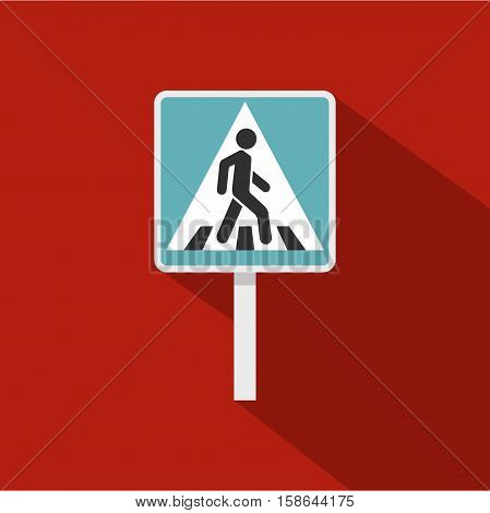 Pedestrian road sign icon. Flat illustration of pedestrian road sign vector icon for web isolated on rufous background