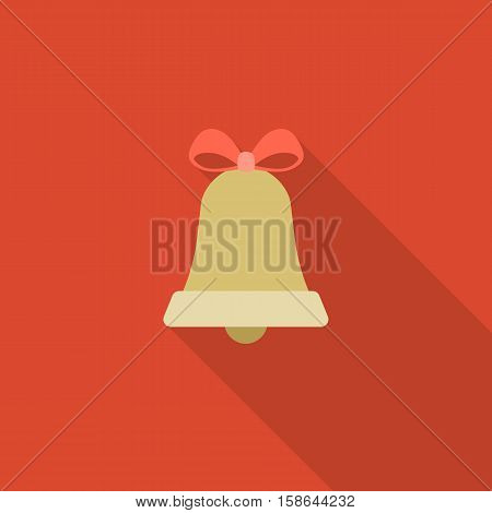 Bell icon for Christmas, alarm and call icon sign, flat design with long shadow on red background