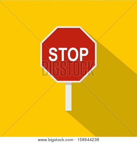 Red stop road sign icon. Flat illustration of stop road sign vector icon for web isolated on yellow background