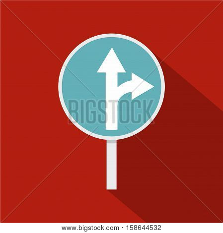 Blue straight or right turn ahead road siign icon. Flat illustration of straight or right turn ahead road sign vector icon for web isolated on rufous background