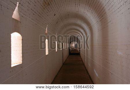 Interior View of Fort Barrancas, an historic Civil War era fortification in Gulf Islands National Seashore, Pensacola, Florida