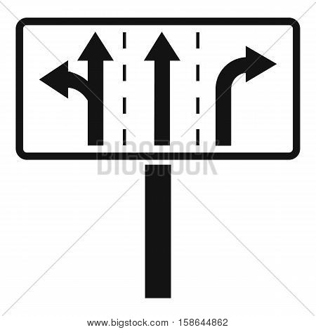 Traffic lanes at crossroads junction icon. Simple illustration of traffic lanes at crossroads junction vector icon for web