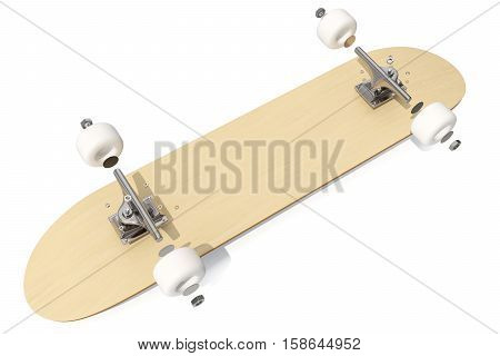 3d rendring disassembled schematic deck skateboard on white background.