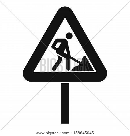 Road works sign icon. Simple illustration of road works sign vector icon for web
