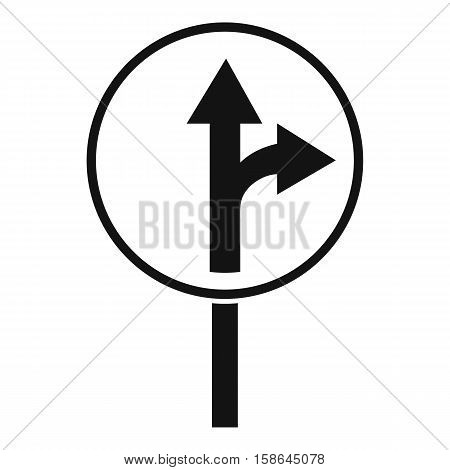 Straight or right turn ahead road sign icon. Simple illustration of straight or right turn ahead sign vector icon for web