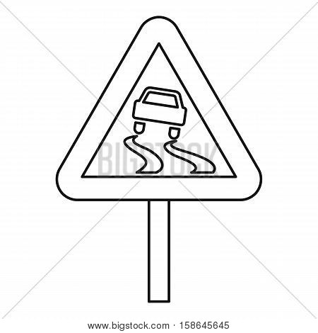 Slippery road icon. Outline illustration of slippery road vector icon for web