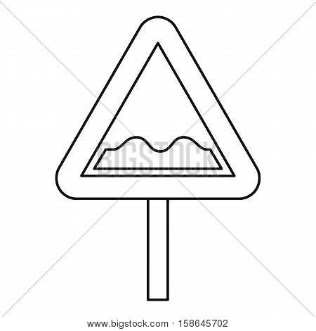 Uneven road sign icon. Outline illustration of uneven road sign vector icon for web