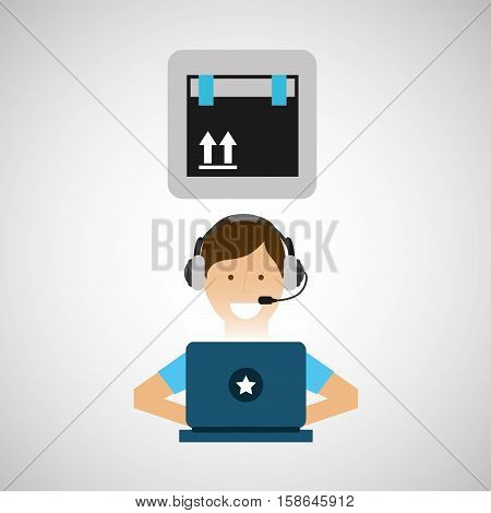 delivery service concept call center fragile cardboard box vector illustration