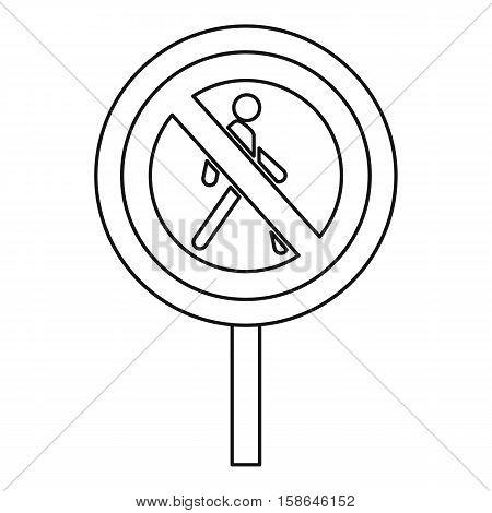 No pedestrian road sign icon. Outline illustration of no pedestrian road sign vector icon for web