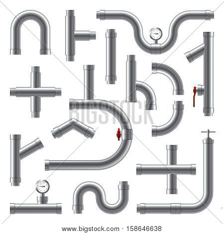 Pipes metal realistic set in different shape isolated vector illustration