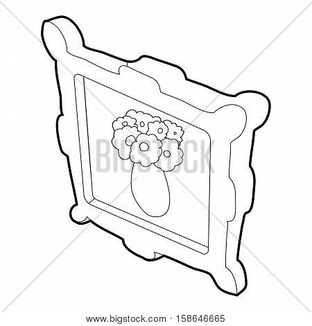 Picture with flowers in a vase icon. Isometric 3d illustration of picture with flowers in a vase vector icon for web