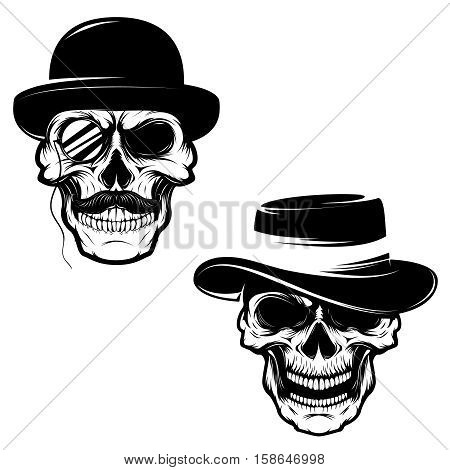 Set of Skulls in hat and monocle. Design element for logo, label, emblem, sign, brand mark, t-shirt print. Vector illustration.