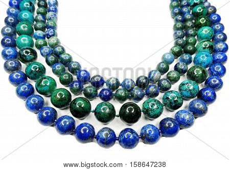 semigem blue necklace with bright crystals jewellery