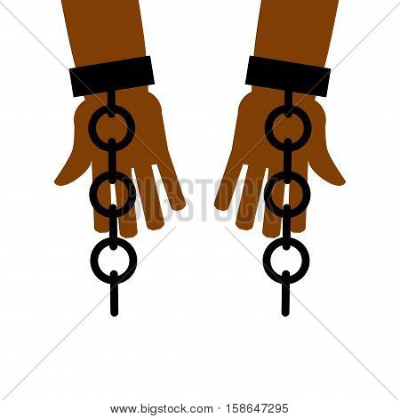 Emancipation from slavery. break free. Chains on slave hands. Release from bondage. poster