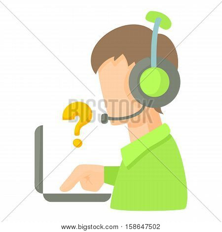 Call center operator with headset and laptop icon. Cartoon illustration of call center operator with headset and laptop vector icon for web