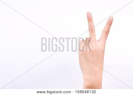 finger hand girl symbols isolated concept two points lesson learn teaching and fighting victory sign on the white background