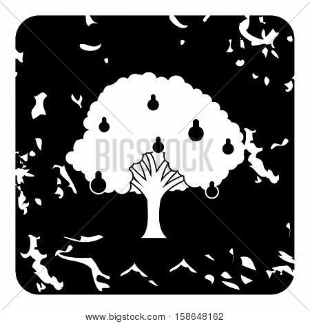 Big pear tree icon. Grunge illustration of pear tree vector icon for web design